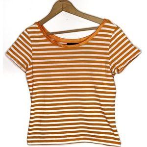Crazy Horse Orange & White Striped Top Medium